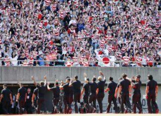 Japans Rugby Nationalteam nach dem Spiel gegen Südafrika Anfang September.